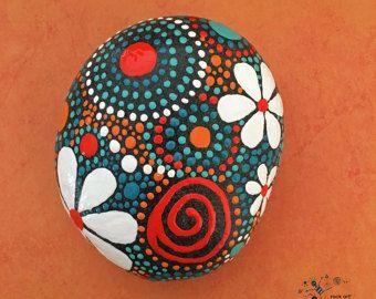 Painted Rock Mandala Design Rock Art Natural by etherealandearth