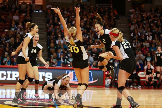 IHSA State Finals girl's volleyball celebration.