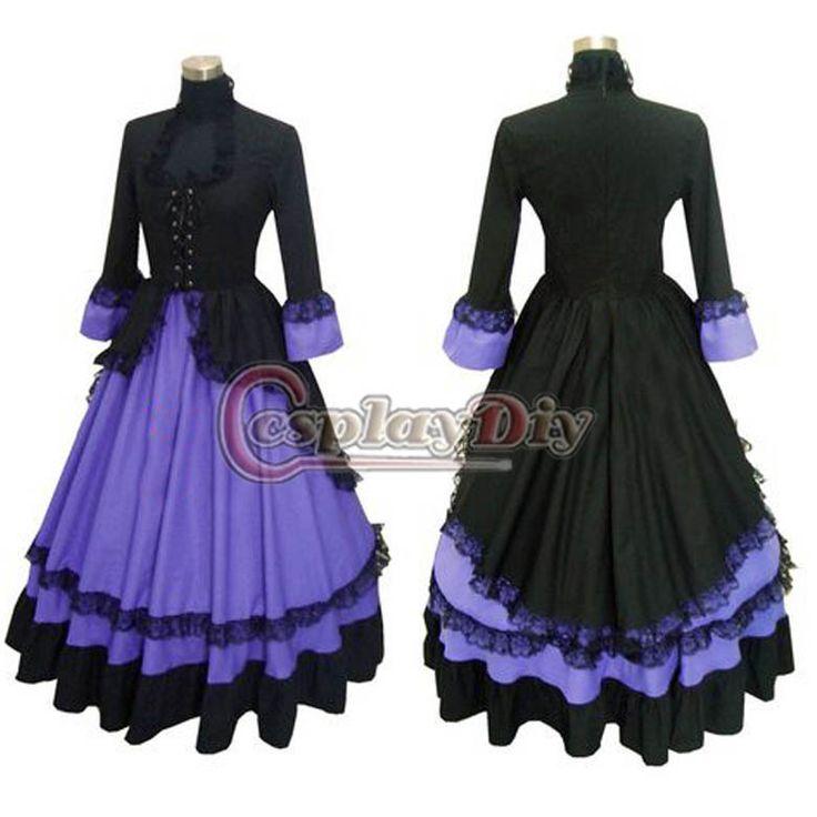 Free Shipping Custom-made Elegant Ball Gown Gothic Punk Dress Purple Cotton Victorian Dress US $135.99