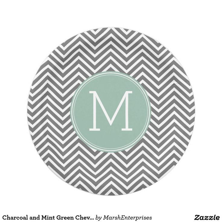 Charcoal and Mint Green Chevrons Custom Monogram Paper Plate  sc 1 st  Pinterest & 113 best Wedding Paper Plates images on Pinterest | Wedding paper ...