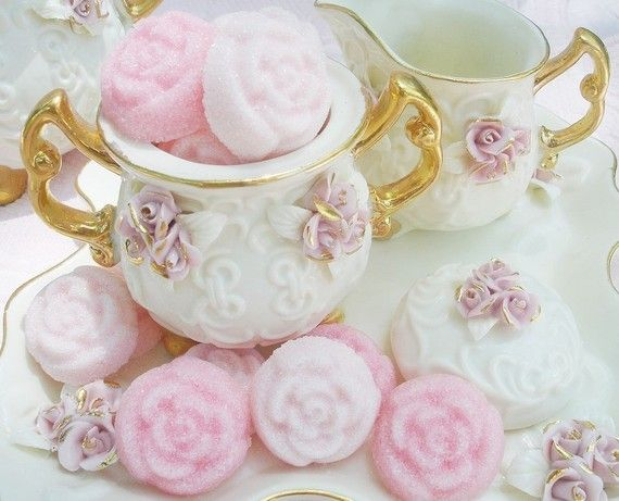 Pink Medley Sugar Roses, Sucre Moule, Molded Sugar...The perfect touch for your Tea or as Cupcake, Petit Four Toppers/Cake Decor