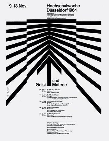 Mind and Matter, Highschool Week — Walter Breker (1964)  Fundamental element: line    Design principle: spatial activation