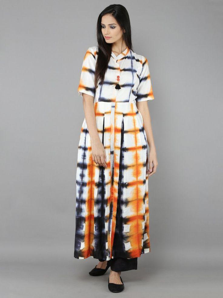 White Orange Cotton Silk Long Kurti with Palazzzo - Set of 2
