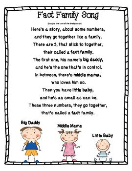 "Fact Family Song to the Brady Bunch song .....Follow for Free ""too-neat-not-to-keep"" teaching tools & other fun stuff :)"