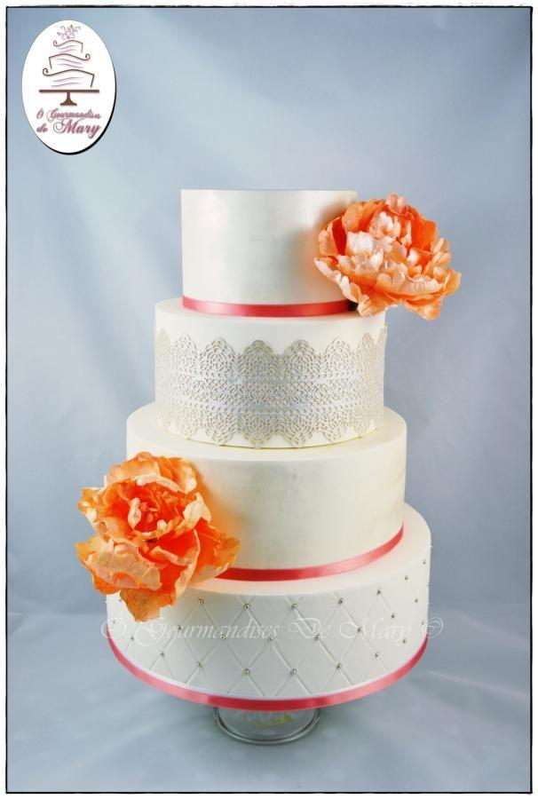 Dentelle et Pivoine en Wafer Paper - Cake by Ô gourmandises de Mary