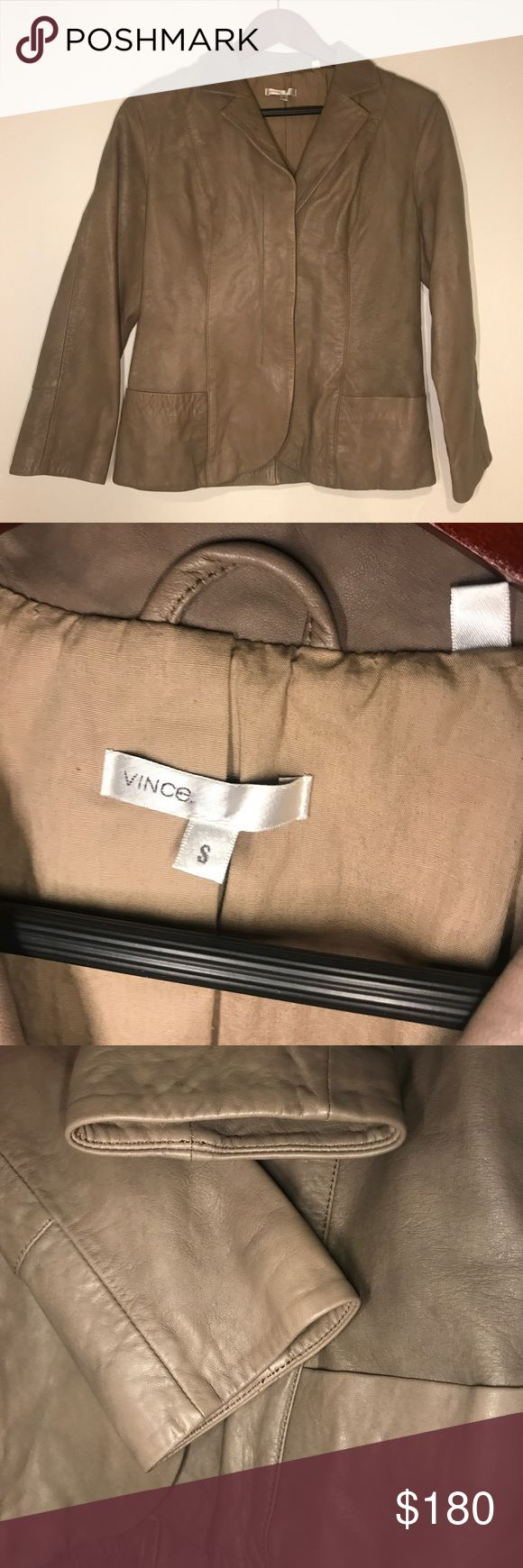 Vince Tan Leather Jacket Blazer brown leather In excellent condition.  No signs of wear or defect.  There are no stains and the leather is in excellent condition.  The Jacket has hidden snap buttons and welt pocket detailing.  Great with jeans or slacks.  Measurements uploaded shortly. Vince Jackets & Coats Blazers
