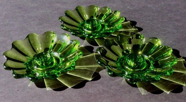 Set of 3 Vintage Federal Glass Ribbed Scalloped Green Candle Holders ~ Sunburst #Federal