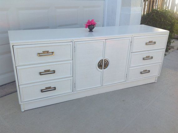 Vintage Palm Beach Credenza Dresser ON SALE by RetroDaisyGirl, $595.00, white painted hollywood regency chinoiserie furniture, case piece, vintage, buffet, etsy