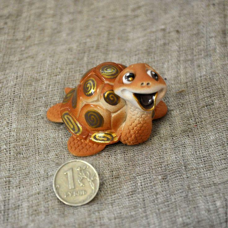 Купить Черепашка.Бубенец. - рыжий, черепашка, керамическая черепашка, керамика ручной работы, черепаха, керамика