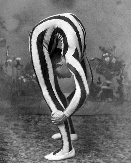 back bend in stripes - vintage side show