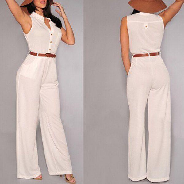 Wholesale Stylish V-Neck Sleeveless Button Design Wide Leg Women's Jumpsuit Only $6.16 Drop Shipping | TrendsGal.com