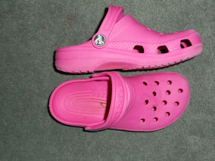 Little Girls Hot Pink CROCS Slip On Clogs Comfort Shoes, Size 12-13, Good Shape! #CROCS #SlipOnClogs