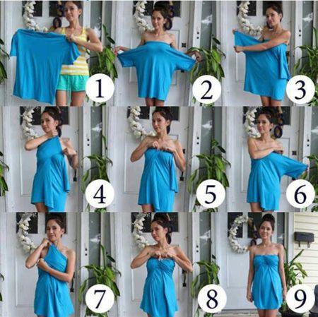 DIY T Shirt Dress No Sew- Day 34 http://interestingfor.me/diy-t-shirt-dress-no-sew/