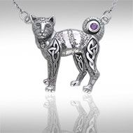 Celtic Knotwork Silver Cat Necklace TNC047 - The cat has long been a revered companion of man, sharing our lives since the time of the early Egyptians. This beautifully crafted feline is adorned with Celtic symbolism to add meaning to the naturally mysterious character of the cat.