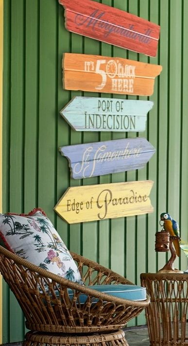 Now you'll always know the way to Margaritaville and other exotic destinations, thanks to these handmade outdoor signs.   Margaritaville by Frontgate