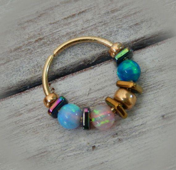 Helix Earring Hoop // Tragus Earring // Opal by LarryJewelryShop
