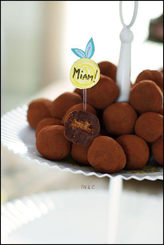Truffe au chocolat noir coeur surprise crousti-fondant