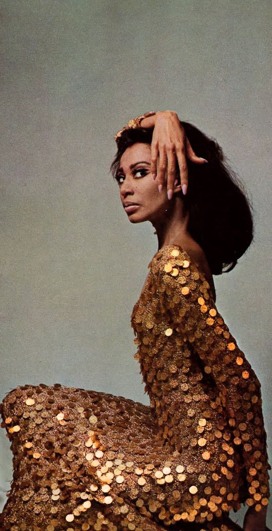 Donyale Luna in Lurex by Paco Rabanne, photo by David Bailey for Vogue, 1966