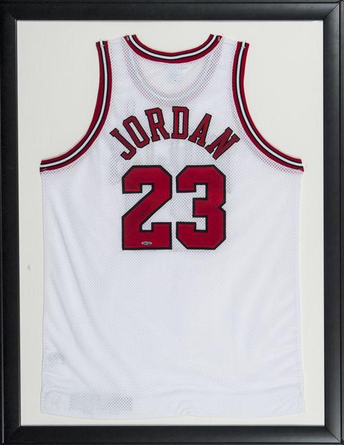 Michael Jordan Signed Framed 34x44 Chicago Bulls White Jersey UDA