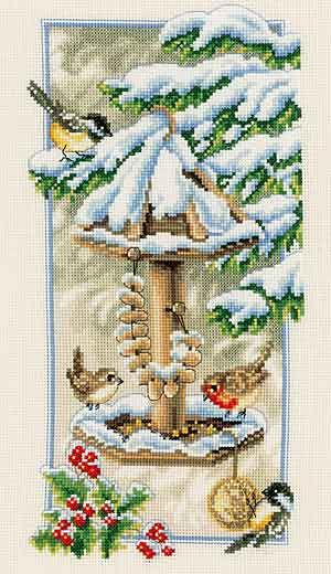 beautiful cross stitch | Winter Birds Feeding is a beautiful cross stitch design from Vervaco