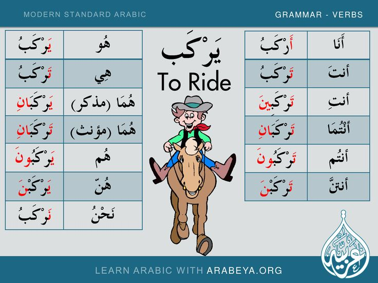 to ride learn new modern standard arabic verbs with arabeya part 3 pinterest. Black Bedroom Furniture Sets. Home Design Ideas