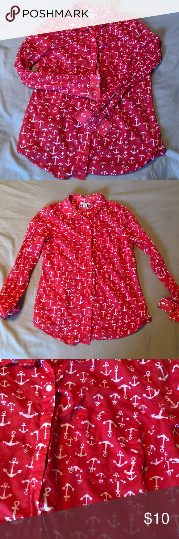 Red ANCHOR long sleeve button down shirt Women's button down shirt. Features cute anchors! Shirt is red. I don't think I've ever worn this shirt but it's been in my closet for a while. Size M. Fits TTS. Tops Button Down Shirts