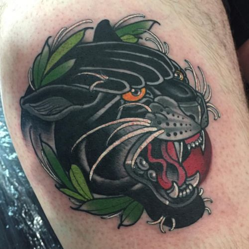 Image result for black panther and roses tattoo