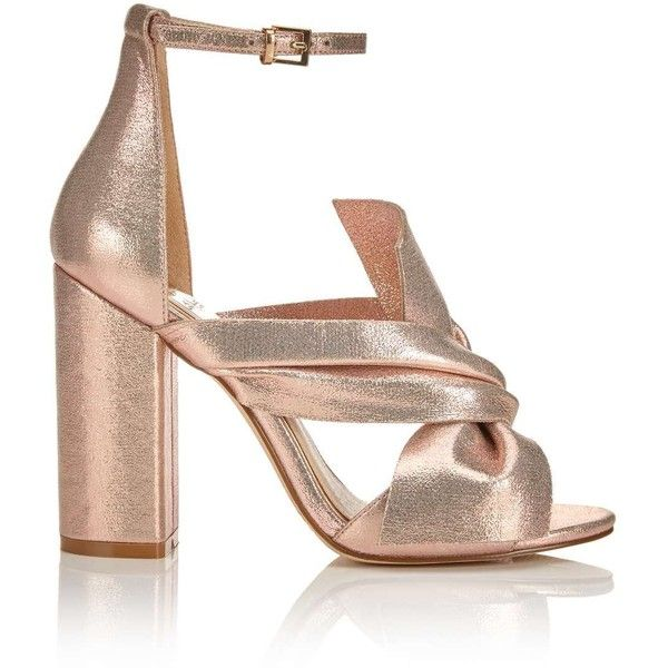 Miss Selfridge CANDY Bow Sandals ($80) ❤ liked on Polyvore featuring shoes, sandals, heels, rose gold, block heel shoes, synthetic shoes, rose gold shoes, rose gold sandals and rose gold metallic shoes
