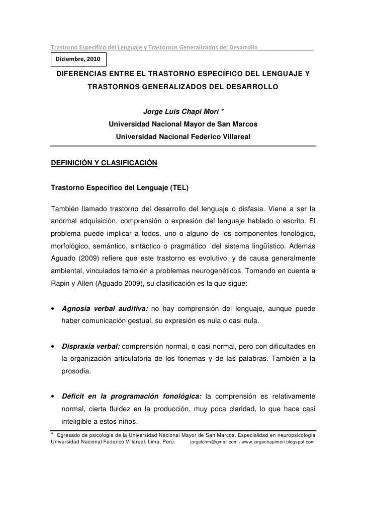 d                                     d                                         DIFERENCIAS ENTRE EL TRASTORNO ESPECÍFICO ...