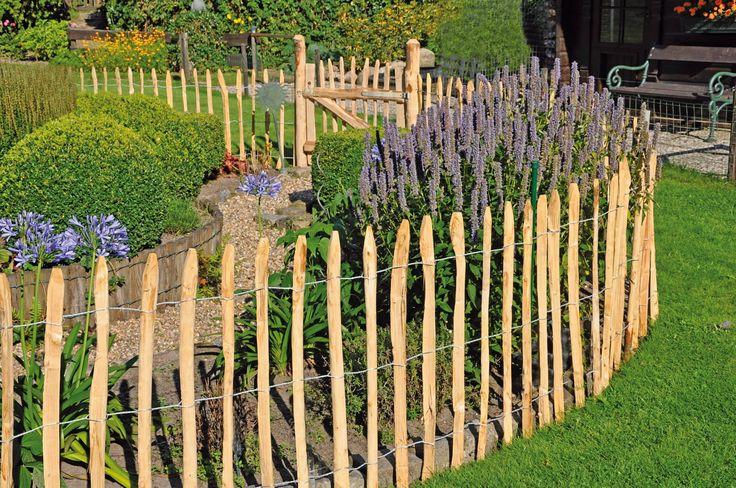 kastanien staketenzaun 5 m und 10 m lang 90 cm hoch vorgarten zaun gartenz une und sthetisch. Black Bedroom Furniture Sets. Home Design Ideas