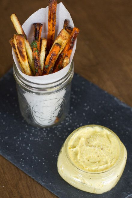 Truffled Parsnip and Carrot Fries with Truffle Aioli