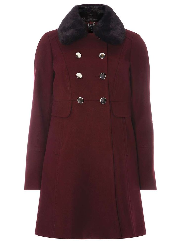 Berry Coat With Detachable Faux Fur Collar - Jackets & Coats - Clothing - Dorothy Perkins