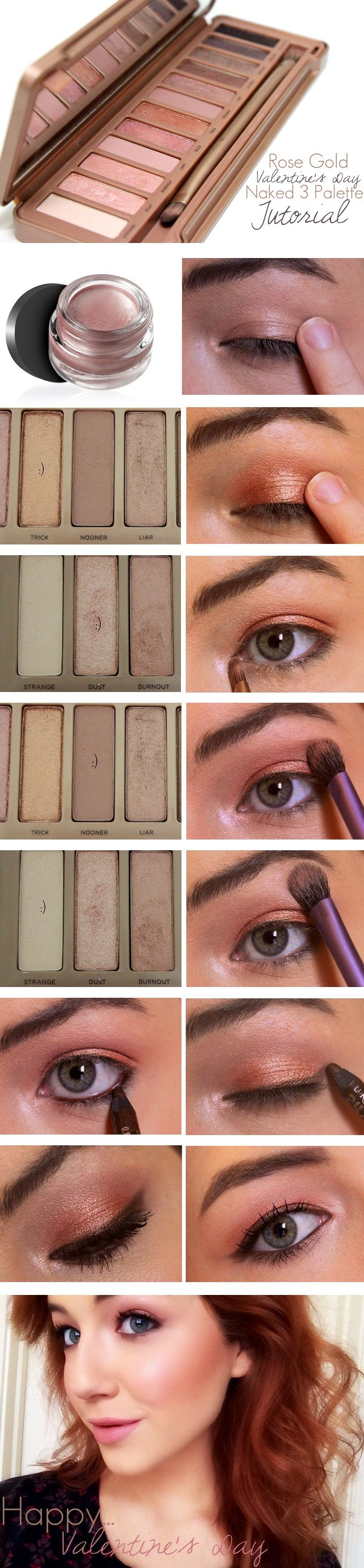 Looking for a soft and romantic Valentine's Day eye look? This soft and romantic rose gold eye using the @Ashley Urban Decay Naked 3 Palette is perfect! | www.loveshelbey.com #naked3palette #nakedpalette #urbandecaycosmetics