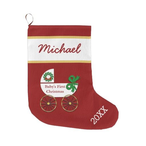 Baby First Christmas Stocking Personalized with baby buggy