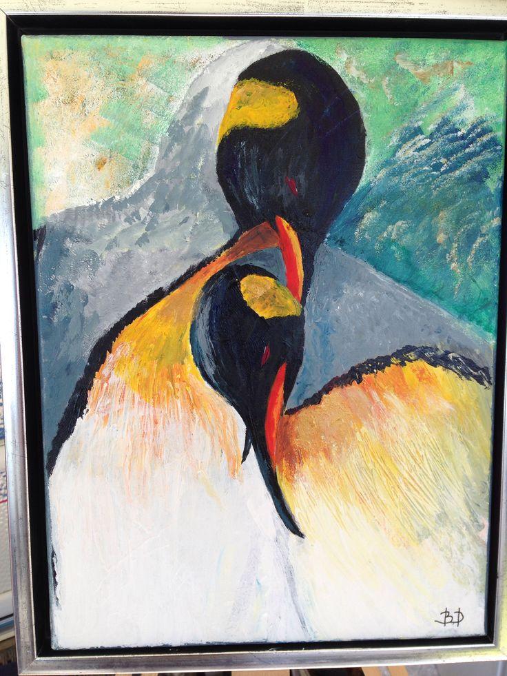 """""""Omsorg"""". Akrylmaleri af to pingviner. I anledning af Henriks 50 års fødselsdag."""