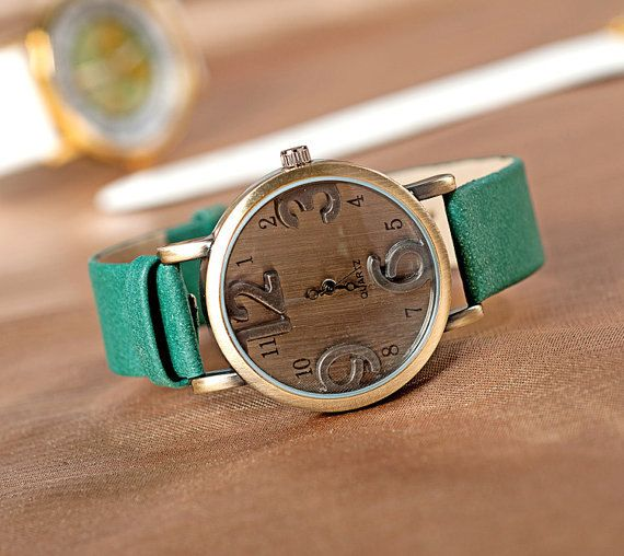 Leather Women's Watch-cute gift for womens-leather Wristwatch on Etsy, $14.88