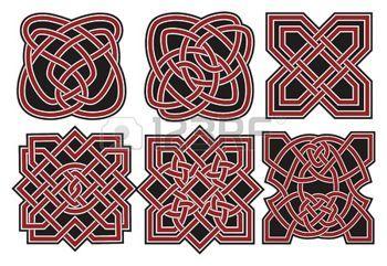 Set of vector ancient celtic design elements photo