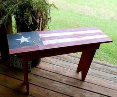 American Flag Primitive Bench Rustic Americana by tinkerscottage, $115.00