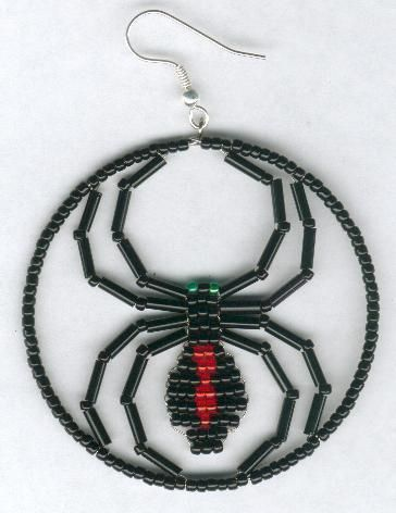 beaded black widow spider earrings