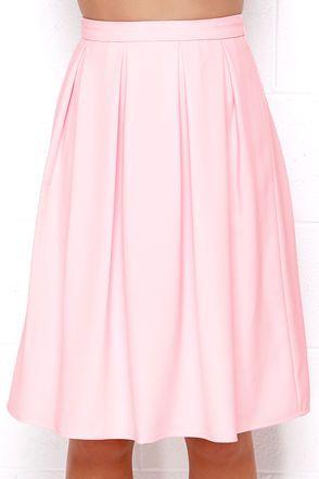 Lovely Light Pink Skirt - Midi Skirt - Pleated Skirt - High-Waisted Skirt - $48.00