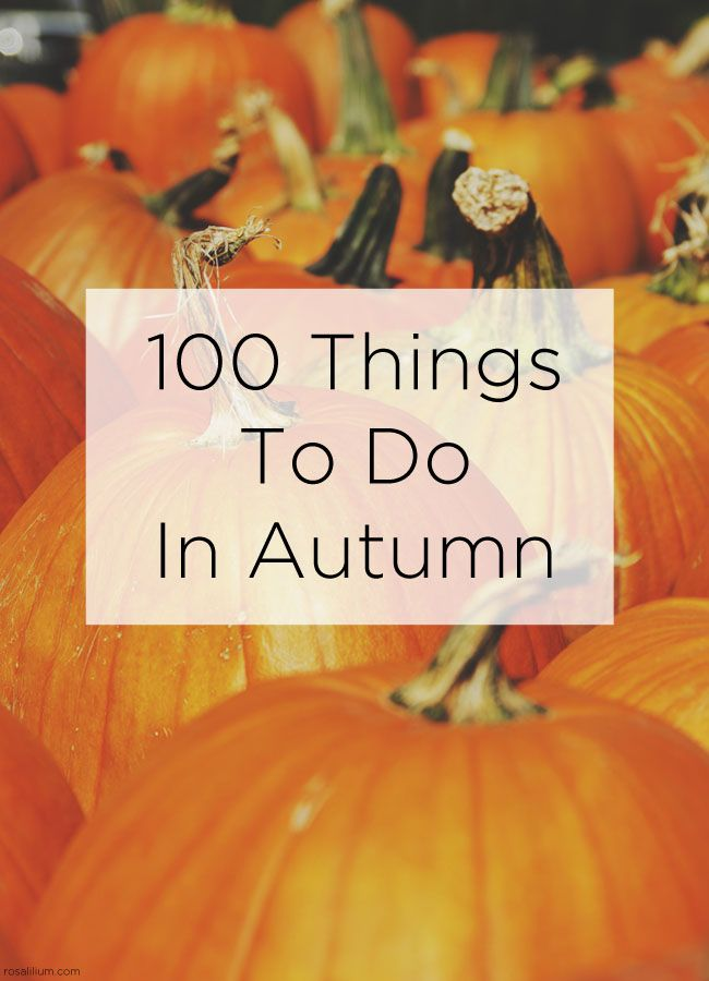 Here is a comprehensive list to inspire you to make the most of Autumn. It's 100 things to do in autumn. Or fall, if you're in the US and Canada.
