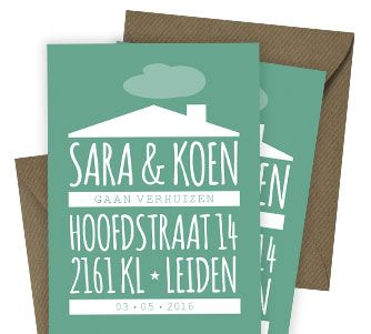 Moderne verhuiskaart met tekst die het huis vormt. Ga je binnenkort verhuizen? Deze kaart kan voor jou gepersonaliseerd worden. Leuk om te combineren met een envelop van kraftpapier.