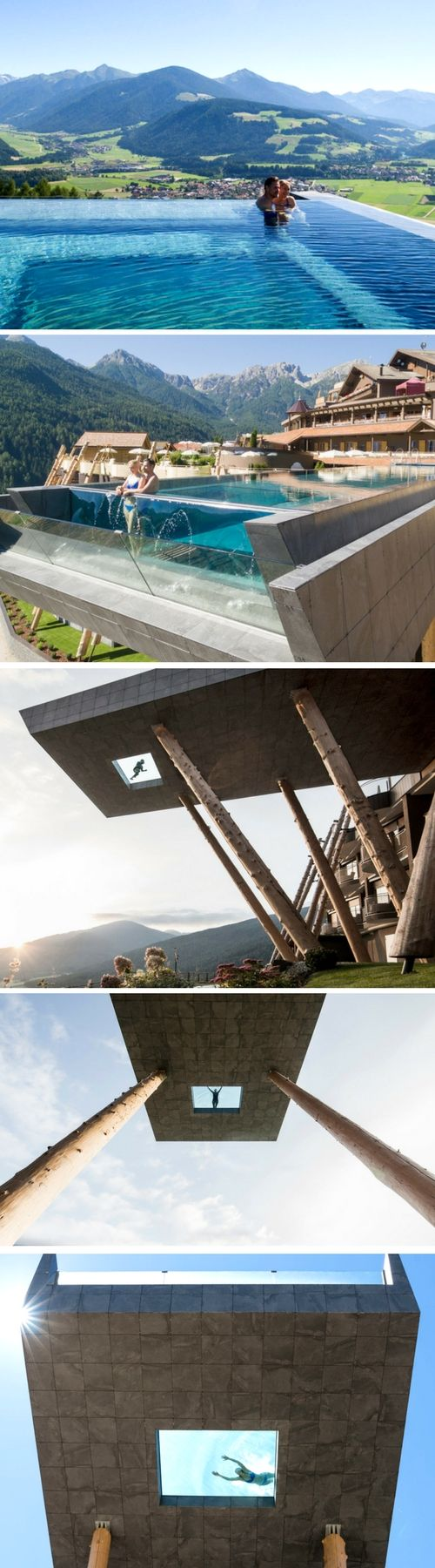 Infinity skypool in South Tyrol | Like a bridge in the sky: this spectacular outdoor pool of Hotel Hubertus in the Alpes has a front  and a part of the bottom made from glass. This gives the bather the feeling of floating above the floor, gliding weightlessly between heaven and earth | The 20 meter high and 25 meter long Skypool is heated all year round and offers breathtaking views #pool #infinity #sky #mountain