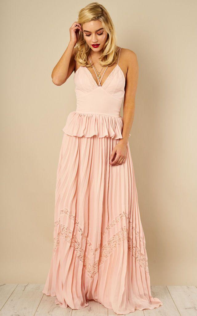 c89d167230c Nude Peplum Pleated Skirt Maxi Dress By True Decadence