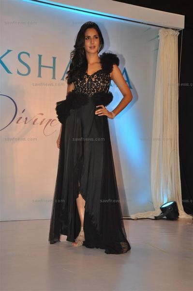 Katrina Kaif looked high octane in a Rocky S black net gown while unveiling the new logo and brand campaign 'Glow Divine' for Nakshatra Diamonds at Hotel Grand Hyatt in Kalina, Mumbai on Monday, May 14.