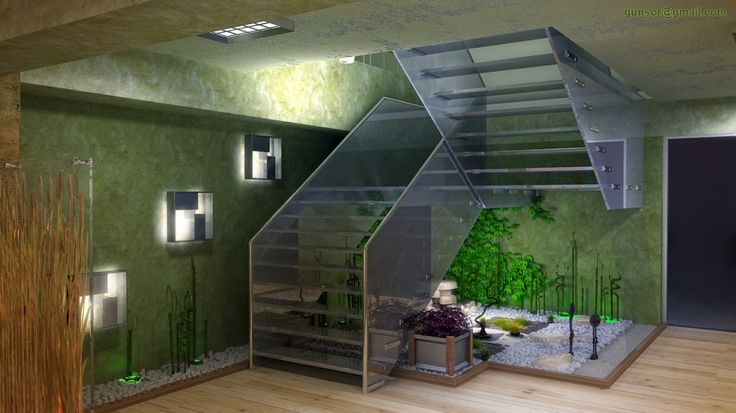 Garden design glass stair and garden using glass wall for Garden design under the stairs