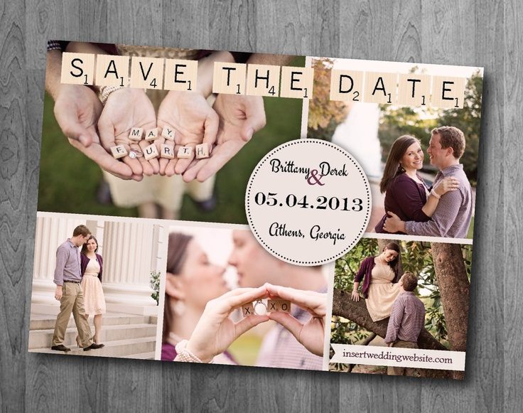 Scrabble Save the Date Postcard - Printable