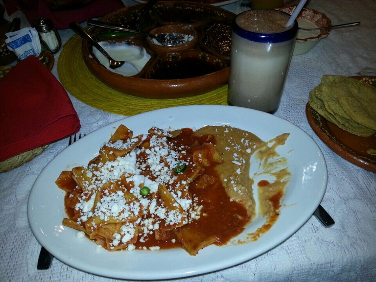 Hot Chilaquiles at the only chilaquiles restaurant ever visited by Bono (U2). Los Chilaquiles -Guadalajara,  Jalisco, México