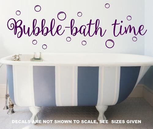 Bubble Bath Time Childrenu0027s Bathroom Quote Wall Art Sticker Med Vinyl Decal