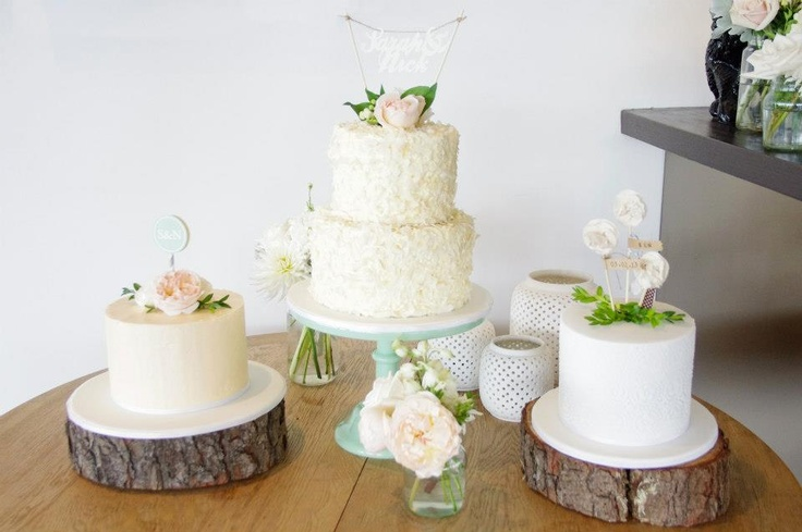 cake trio with handmade toppers by Cake Ink., flowers by Hello Blossoms: Pretty Cakes, Bolos Cakes Comida Food, Tree Trunks, Cake Flowers, Cake Table, Cake Inspiration, Wedding Cakes, Cake Decorating